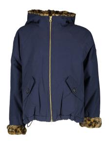 AO76 Blauwe winterjas met dierenprint accenten en kap