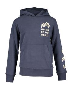 AO76 Donkerblauwe hoodie met beige print AO Boys