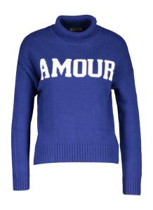 Zadig & Voltaire Blauwe trui met witte belettering en opstaande kraag