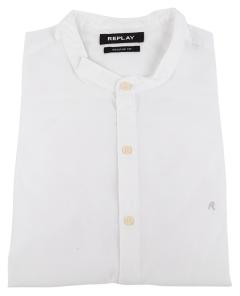 Replay Wit hemd met rechtopstaande kraag