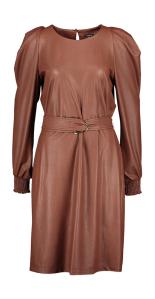 Caroline Biss Cognac vegan leather jurk met pofschouder