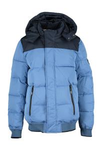 Scotch & Soda Lichtblauwe winterjas met donkerblauwe kap