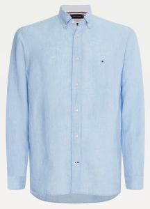 Tommy Hilfiger Lichtblauw hemd met geborduurd logo Regular Fit