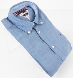 Tommy Hilfiger Blauw hemd met geborduurd logo Regular Fit