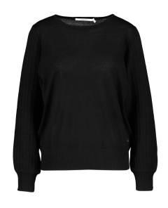 Xandres Zwarte trui met geribde mouwen HEDIA