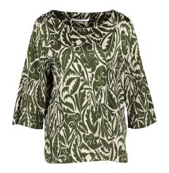 Xandres Glanzende groene blouse met ecru motief