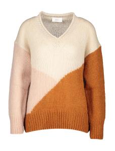 Her Beige trui met multi-color vlakken