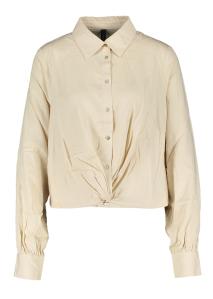 Y.A.S Beige blouse met knoopvorm onderaan .