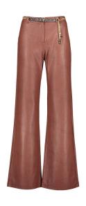 Caroline Biss Donkerbruine vegan leather wijde broek met gouden riem