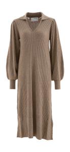 Selected Lang taupe kleurige kleed met V-hals  Femme