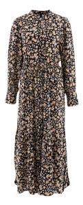 Y.A.S Zwarte lange jurk met bloemenprint