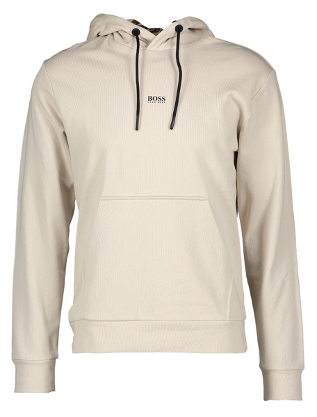 Beige effen sweater met print in kap Hugo Boss Orange