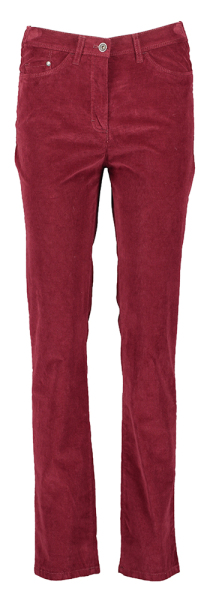 Bordeaux Broek in fijne Ribfluweel Raphaela By Brax model Laura Super Slim