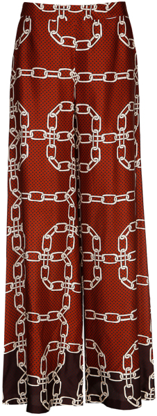 Bordeaux Losse Broek met Beige Kettingmotief Julia June