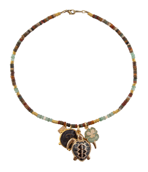 Galapagos multi-color ketting met schildpad medaillon Indochine