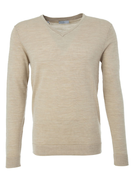 Pull Selected Beige met V-hals