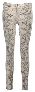 Beige Broek met Slangenprint SUPER SKINNY For All Mankind