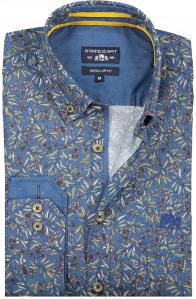 Blauw Hemd met Bloemen en Plantenprint REGULAR FIT State Of Art