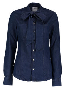 Blauwe Jeansblouse Twin-Set met Strik