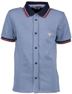 Blauwe Polo met Knopen Guess