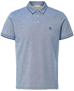 Blauwe Polo met wit Selected Homme