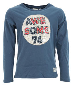 Blauwe T-Shirt met Pailletten American Outfitters