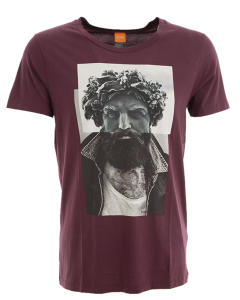Bordeaux T-Shirt met Fotoprint en met Ronde Hals Boss Orange
