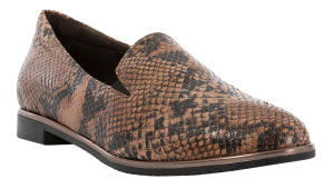 Bruine Loafers met Slangenprint Softwaves