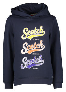 Donkerblauwe Sweater met Multi-Color Opdruk Scotch&Soda
