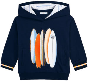 Donkerblauwe sweater met multi-color surfplank motief Mayoral