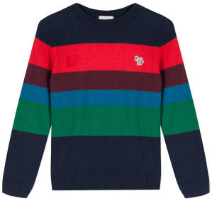 Donkerblauwe Trui met Multi-color Strepen Paul Smith