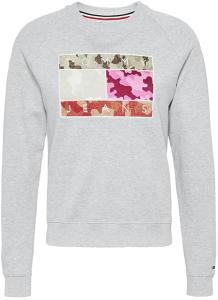 Grijze sweater met opdruk in multicolor legerprint Tommy Jeans