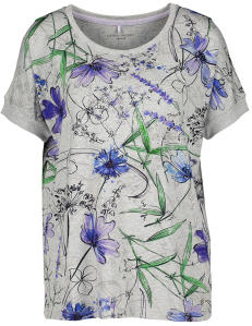 Grijze T-shirt met Multi-color Bloemenprint en Strassen Gerry Weber