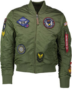 Groene Bomber Jas met Patches Alpha Industries