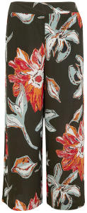 Kakigroene Losse Broek met Multi-color Print S.Oliver Black Label