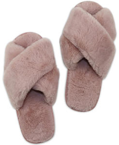 Lichtroze Slippers in Zachte Teddystof  Miracles