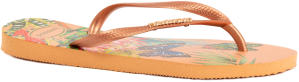Lichtroze Slippers met Natuurprint Havaianas Slim Tropical