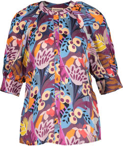 Multi-Color Blouse met Patronen en Driekwart Mouwen Custommade