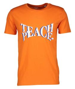 Oranje T-Shirt met Opschrift Teach Peace The Personal Project