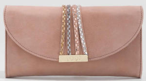 Oudroze Suede Clutch met Multi-color Parels Lodi