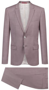 Pastelroze Kostuum Hugo Boss Slim Fit