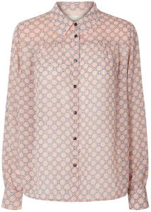 Roze transparante blouse met kettingprint en metaaldraad Molly Shirt Lollys Laundry