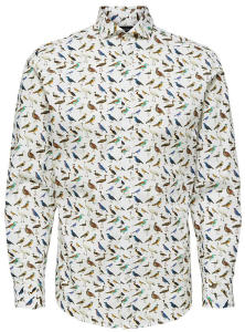 Wit Hemd met Vogel-Print SLIM FIT Selected
