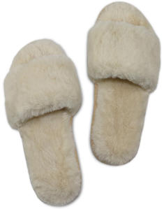 Witte Slippers in Zachte Teddystof Miracles