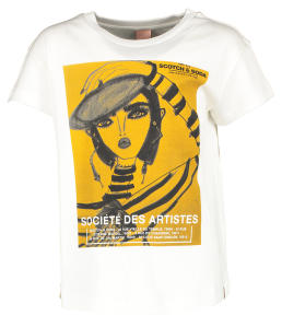 Witte T-Shirt met Gele Fotoprint Scotch & Soda