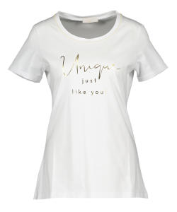 Witte T-shirt met gouden letters Signe Nature
