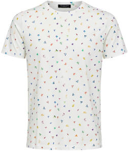 Witte T-shirt met Multi-color Motief Selected Homme
