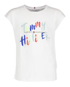 Witte T-shirt met multi-color print Tommy Hilfiger