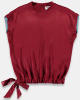 Bordeaux Top Met Lint En Blauw Detail Essentiel